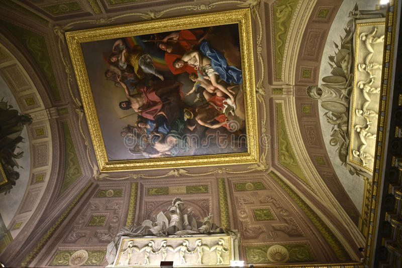 Ceiling in the Borghese Collection in Villa Borghese Rome Italy royalty free stock photos