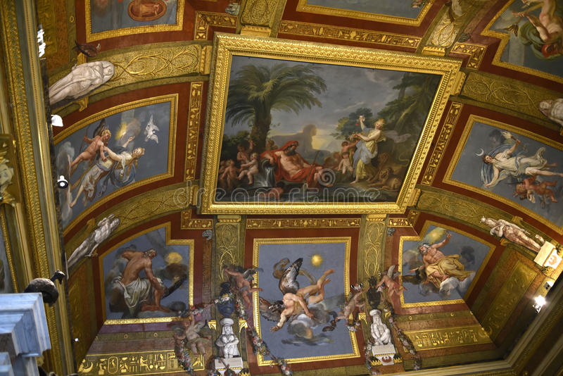 Ceiling in the Borghese Collection in Villa Borghese Rome Italy stock photos