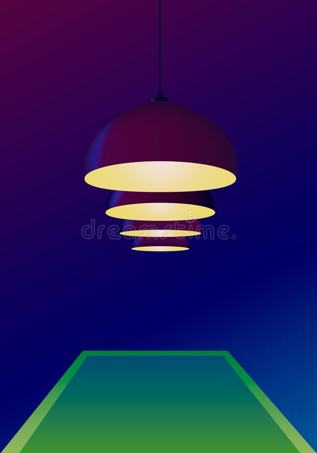 Ceiling bulbs hang and shine yellow light over a pool green table in vector. Dark blue background. Poster invitation template for vector illustration