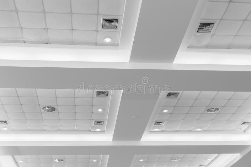 Ceiling of business interior office building and light neon. style monochrome with copy space. Add text stock image