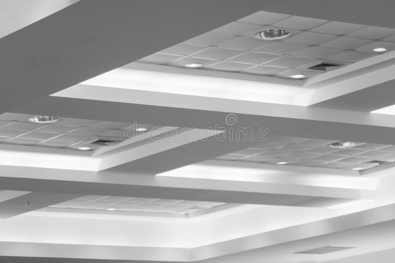 Ceiling of business interior office building and light neon. style monochrome with copy space. Add text stock images