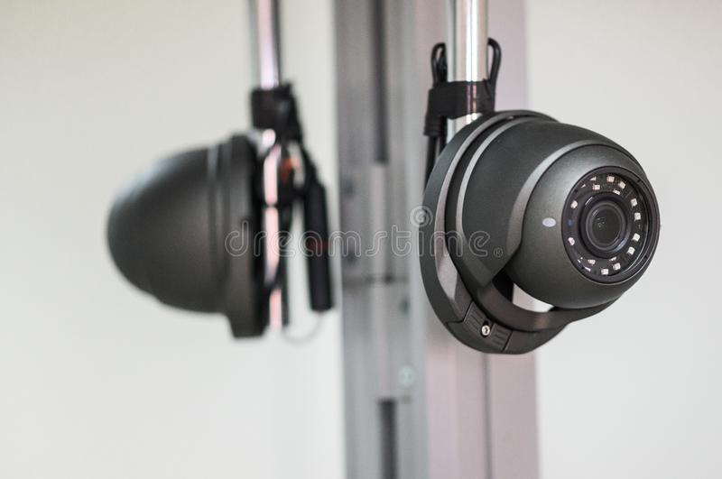 Ceiling camera, security camera. Ceiling camera, CCTV Security Camera. Alarm system home stock photo