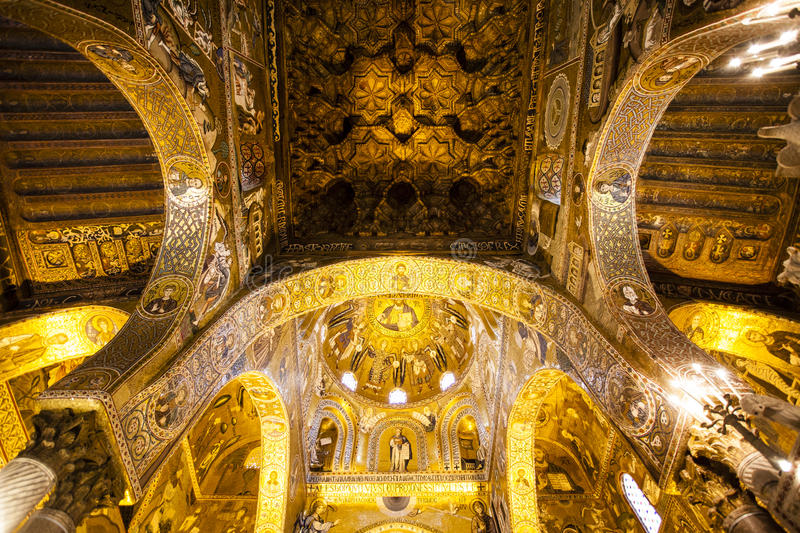 Ceiling of the Capella Palatina Chapel inside the Palazzo dei Normanni in Palermo, Sicily, Italy royalty free stock photo