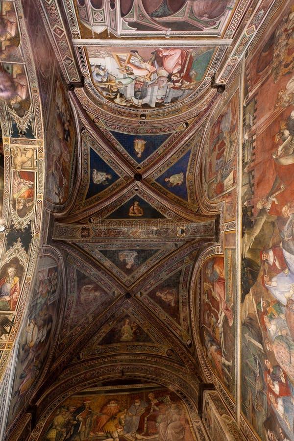 Ceiling Cappella dei Signori, Siena, Toscana, Italia fotografia stock
