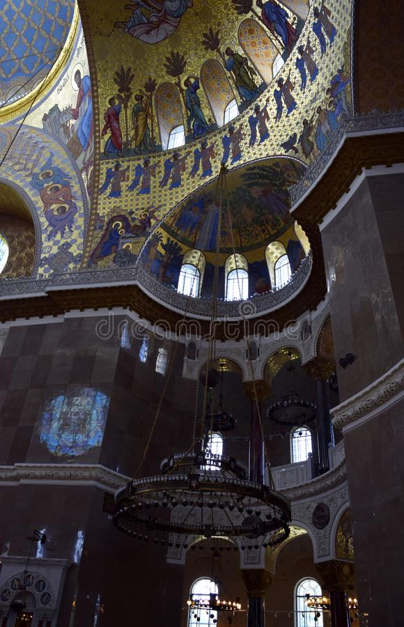 The ceiling of the church with the church painting The Naval cathedral of Saint Nicholas in Kronstadt stock photo