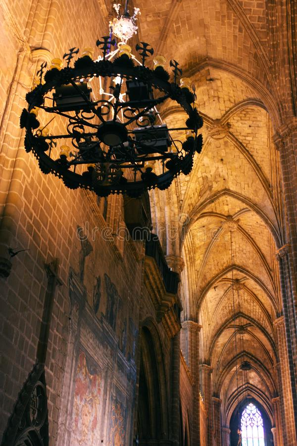 Ceiling of the Church of Santa Maria Del Mar in Barcelona. Catalonia royalty free stock images
