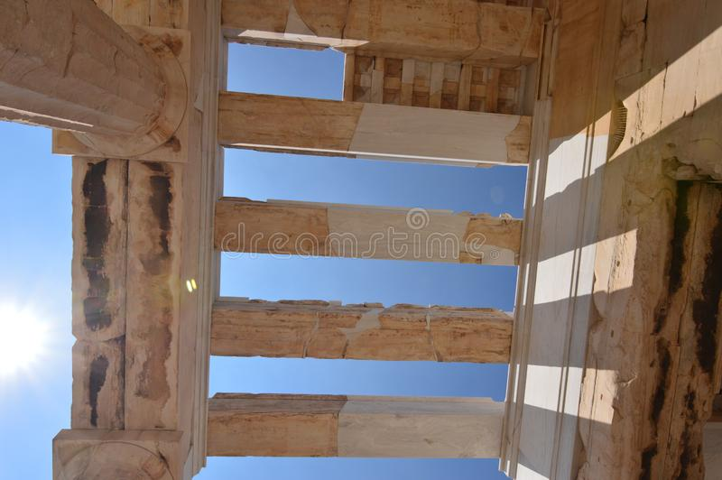 Ceiling Columns Of The Propylaea Of The Acropolis Of Athens.s In The Acroplis Of Athens. History, Architecture, Travel, Cruises stock images