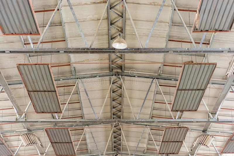 Ceiling construction of a warehouse with lighting and radiant heaters royalty free stock photography