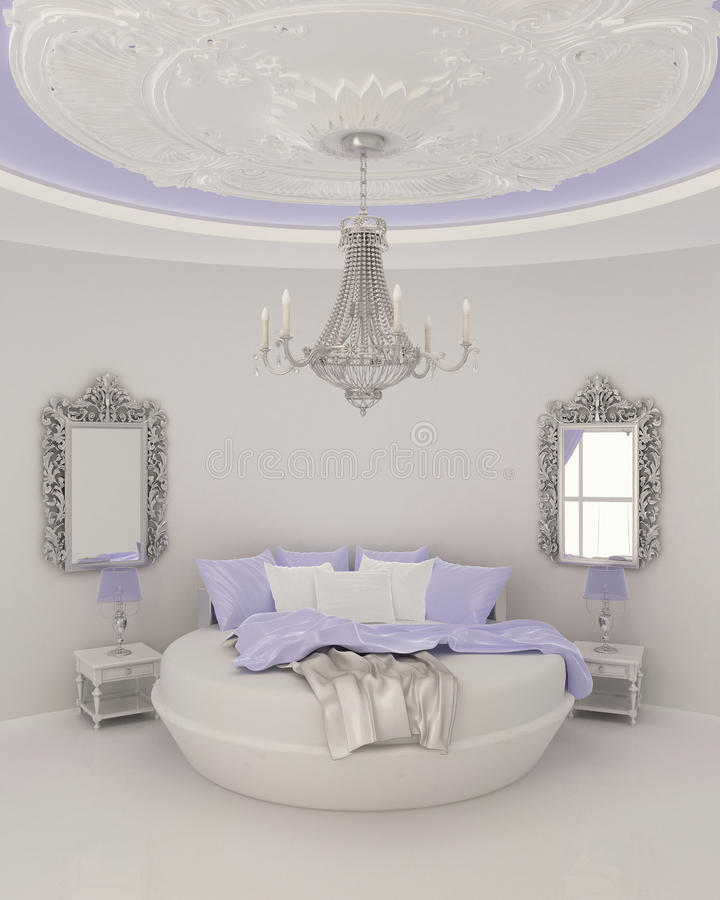 Ceiling decor in modern bedroom vector illustration