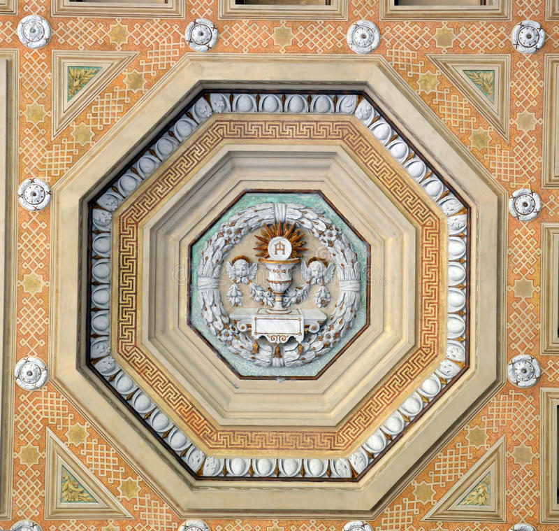 Ceiling decoration at Basilica Papale San Paolo fuori le Mura. St Paul's outside the Walls is one of Rome's four great Basilicas. This decoration adorns the royalty free stock image