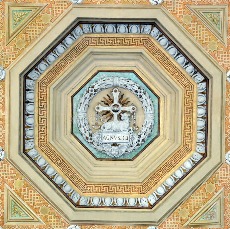 Ceiling decoration at Basilica Papale San Paolo fuori le Mura. St Paul's outside the Walls is one of Rome's four great Basilicas. This decoration adorns the royalty free stock photo