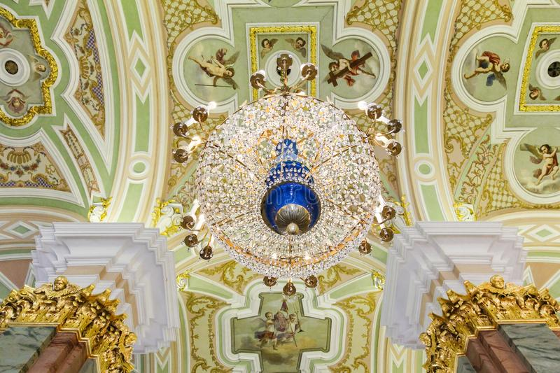 Ceiling decoration and chandelier in Catherine`s Palace stock photos