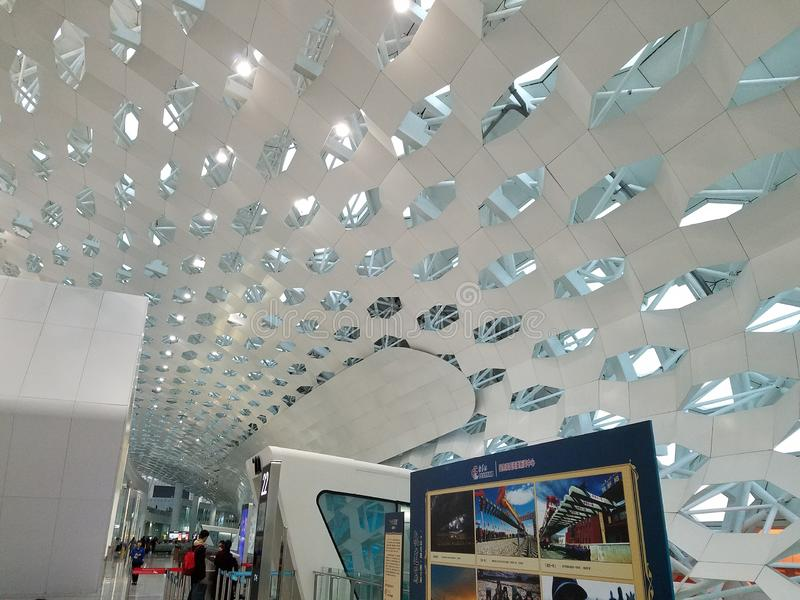 Ceiling Design of Shenzhen Airport in China royalty free stock photos