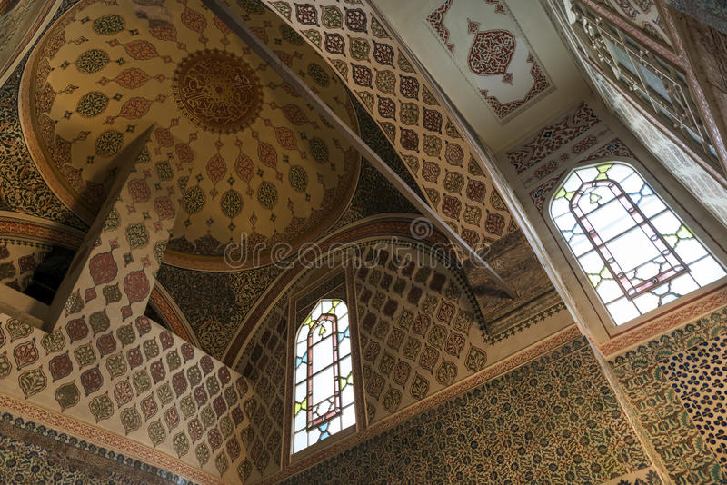 Ceiling detail from Harem section of Topkapi Palace, Istanbul, Turkey royalty free stock photos