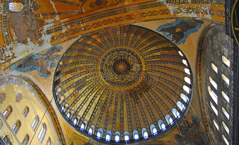 Ceiling of the dome of Hagia Sophia mosque in Istanbul, Turkey. Istanbul, Turkey – October 29, 2010. Ceiling of the dome of Hagia Sophia mosque in royalty free stock photo