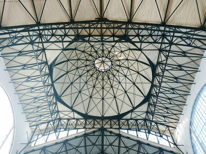 The ceiling and dome in the indoor market. The building was built in 1916. City Saratov, Russia.  stock photos