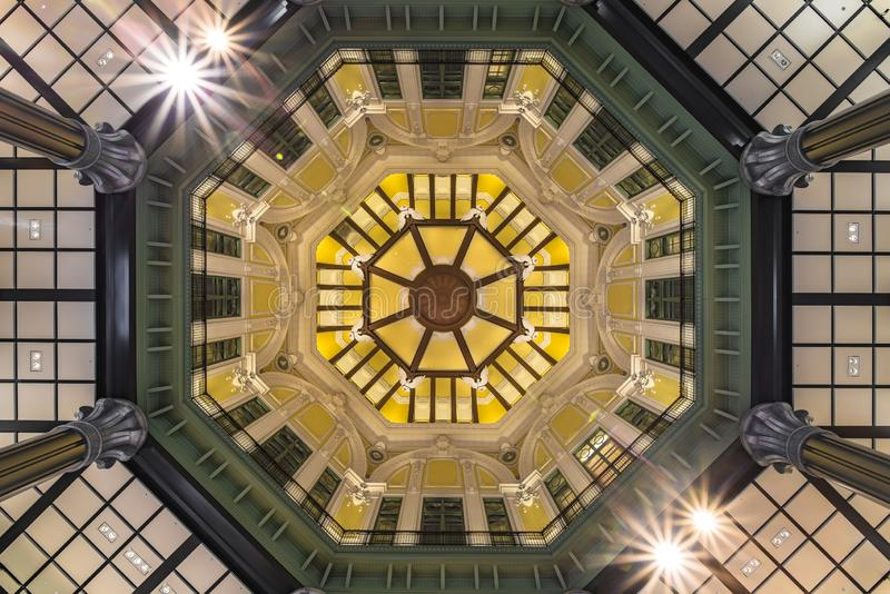 Ceiling of the dome of the Marunouchi North exit of the Tôkyô. Station in Japan. At each end of the upper octagon an eagle looking to the left opens wide royalty free stock photography