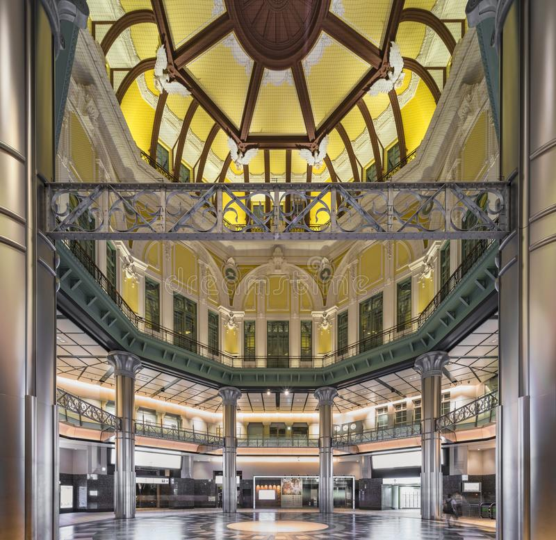 Ceiling of the dome of the Marunouchi North exit of the Tôkyô. Station in Japan. At each end of the upper octagon an eagle looking to the left opens wide royalty free stock photos