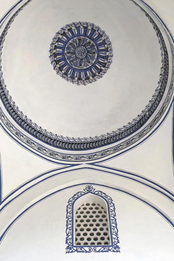 Mosque ceiling dome. Ceiling dome at Mustafa Pasha Mosque in Skopje stock photos