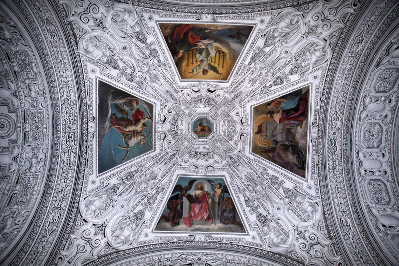 Ceiling and dome in Salzburg Cathedral , Austria royalty free stock photo