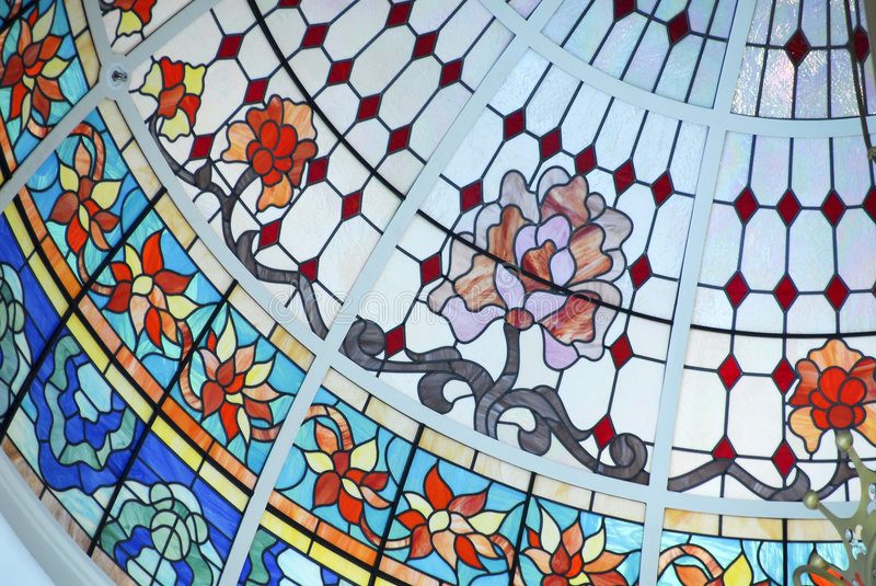 Ceiling Dome in Stained Glass stock images