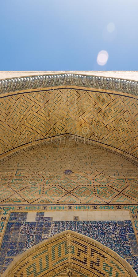 Ceiling dome wall at the Entrance to the Mosque. Dome of the mosque, oriental ornaments from Bukhara, Uzbekistan. stock images
