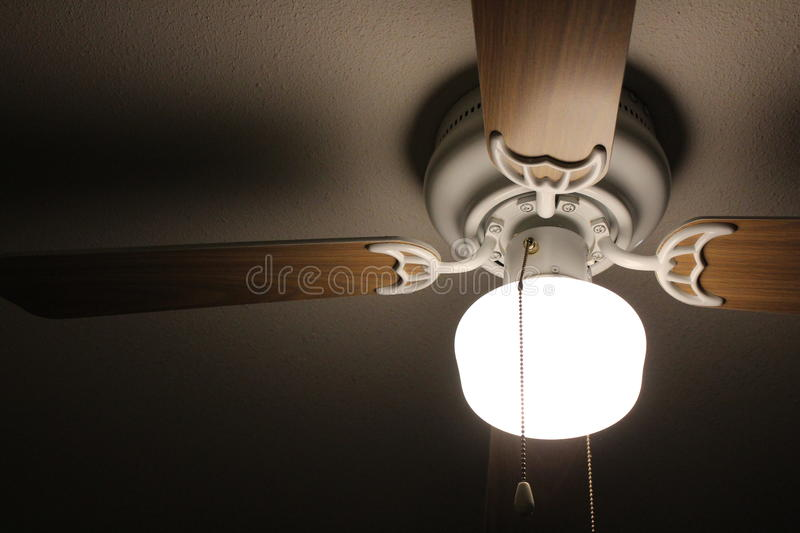 Ceiling Fan. A bright lighted ceiling fan illuminating the room royalty free stock photo