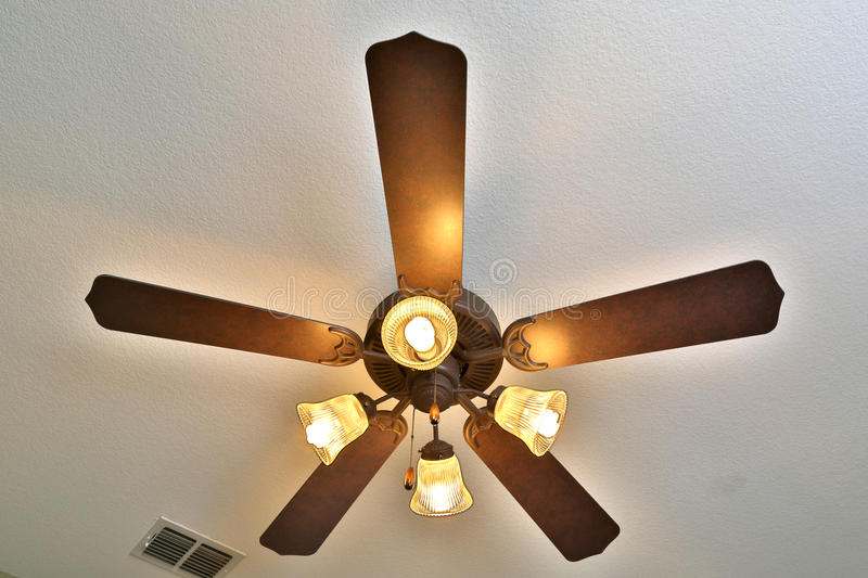 Ceiling fan with lights on royalty free stock photo
