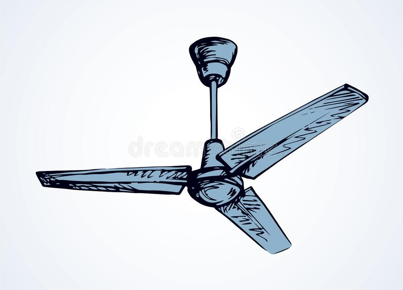 Ceiling fan. Vector drawing. Powerful refresh spin rotor blower device in light flat house. Outline black ink hand drawn hot turn tool. Household logo pictogram vector illustration