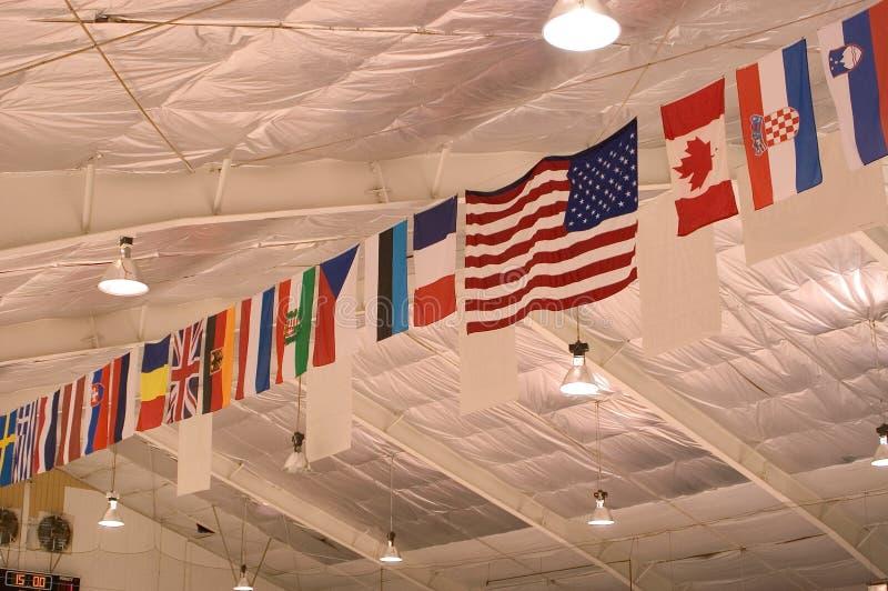 ceiling flags στοκ εικόνα