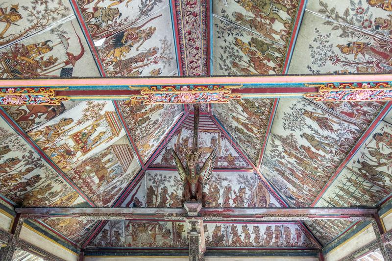 Ceiling of floating pavilion at Royal Palace, Klungkung Bali Indonesia. Klungkung, Bali, Indonesia - February 26, 2019: Floating Pavilion at Royal Palace has stock photos