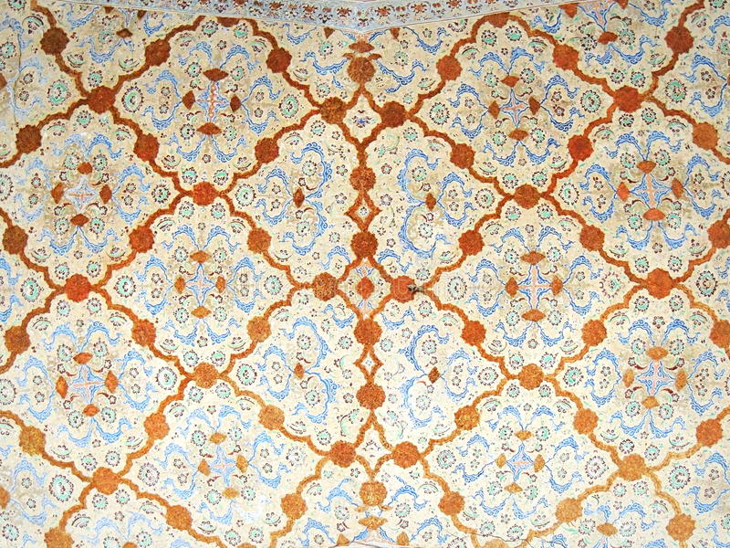 Ceiling floral mosaic decorations on Ali Qappu palace of Isfahan in Iran. Ceiling decorations on the second floor of the Ali Qappu Safavid empire palace stock image