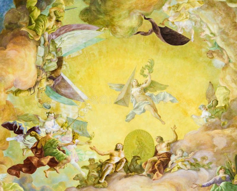 Fresco in the Austrian National Libary in Vienna. Ceiling Fresco & x28;1730& x29; in the Famous Prunksaal or State Hall of the Austrian National Library in the stock illustration