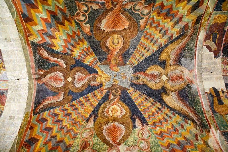 Ceiling frescoes of Hagia Sophia Church in Trabzon, Turkey stock photo