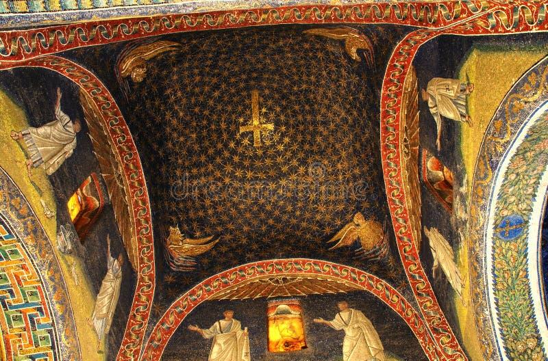 Ceiling of galla placidas mausoleum stock images