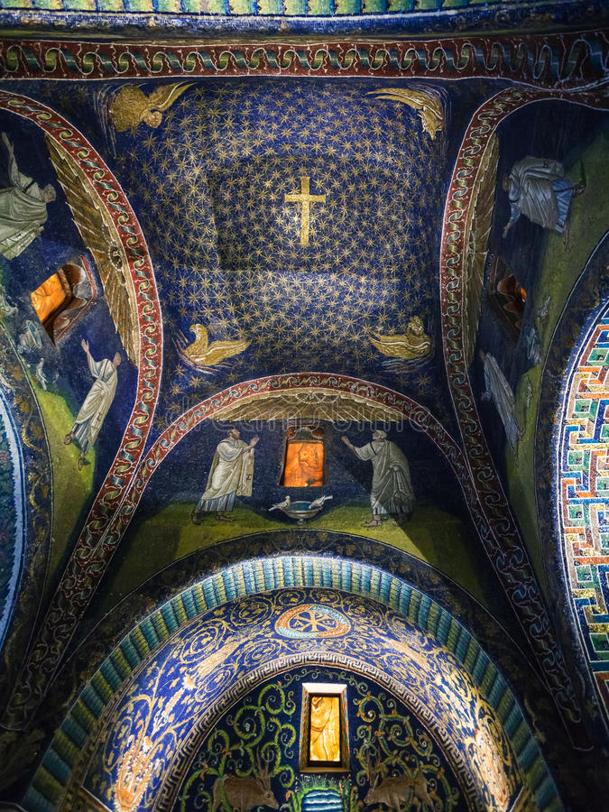 Ceiling of Galla Placidia mausoleum in Ravenna royalty free stock images