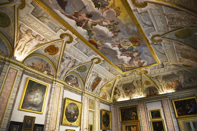 Ceiling in the Galleria Borghese Rome Italy royalty free stock photos