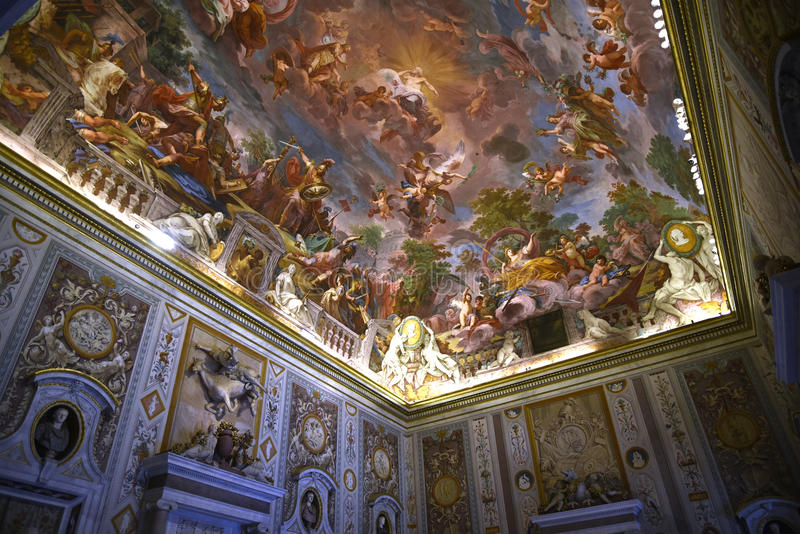 Ceiling in the Galleria Borghese Rome Italy stock photos