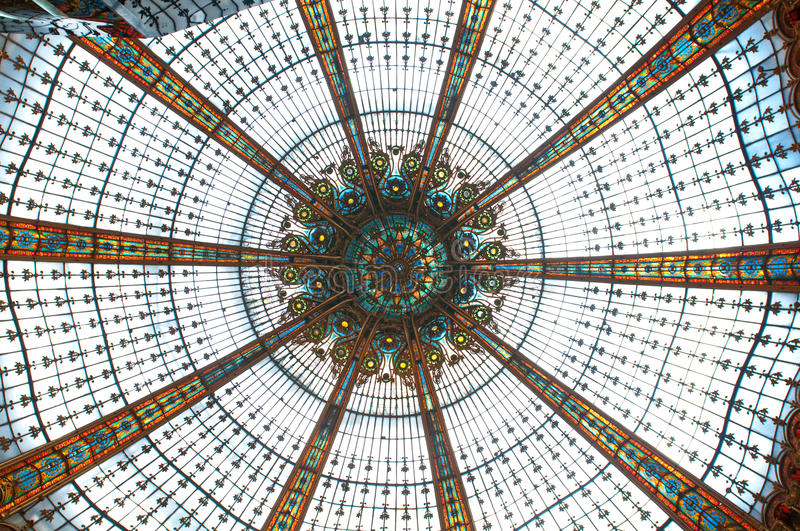 Ceiling in Galleries Lafayette royalty free stock photos