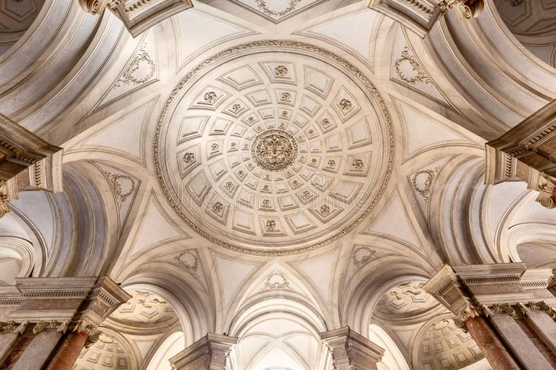 Ceiling of the Grand Staircase of Honour in the Royal Palace of Caserta, Italy royalty free stock photo