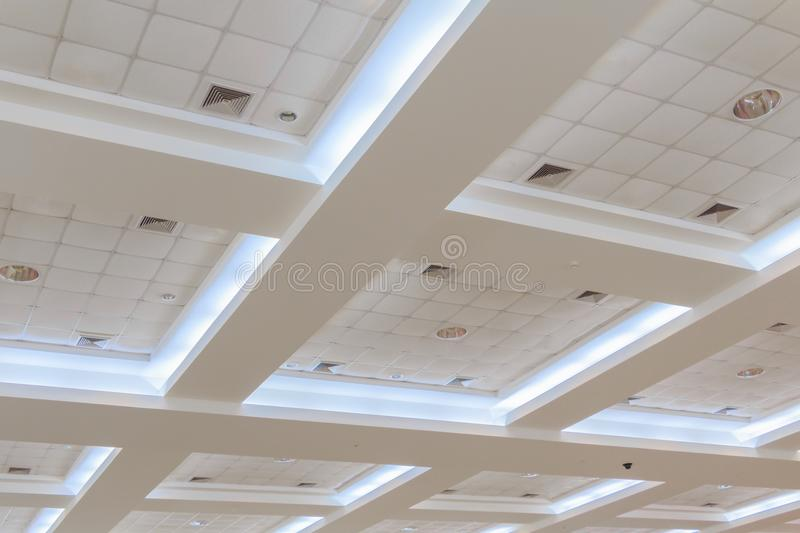 Ceiling gypsum of business interior office building and light neon. style monochrome with copy space. Add text royalty free stock images