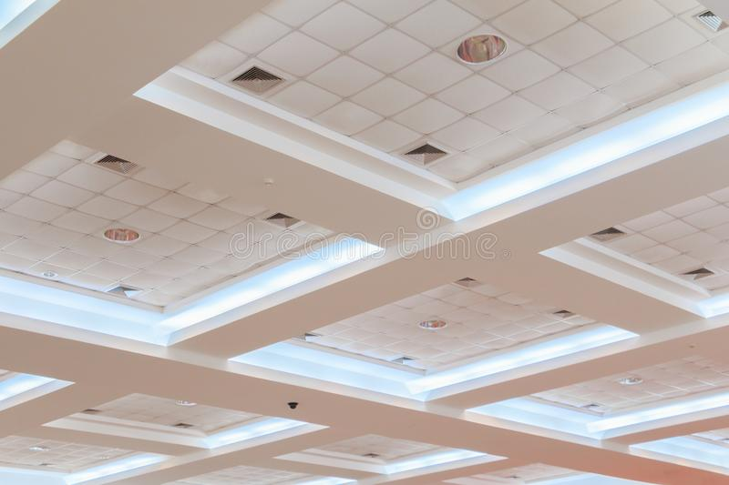 Ceiling gypsum of business interior office building and light neon. style monochrome with copy space. Add text royalty free stock photos