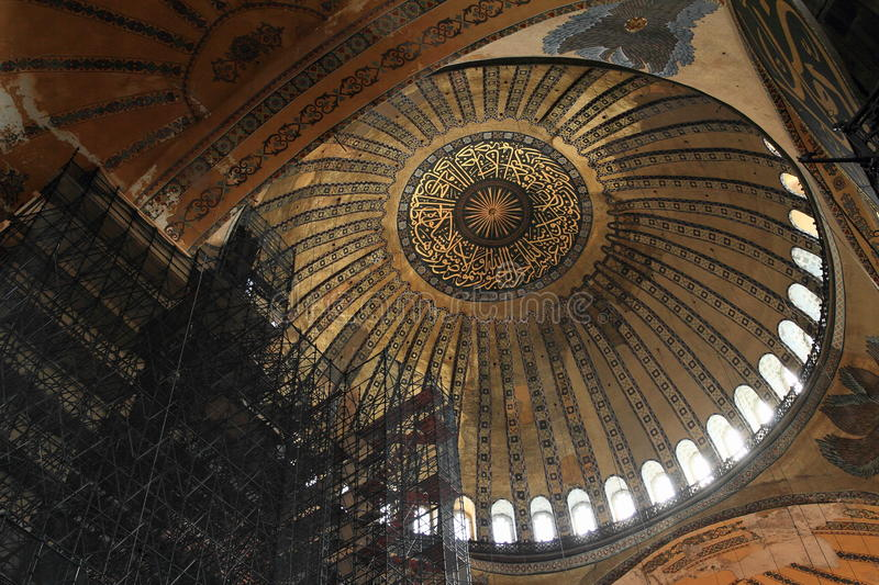 Ceiling of Hagia Sofia in Istanbul royalty free stock photography