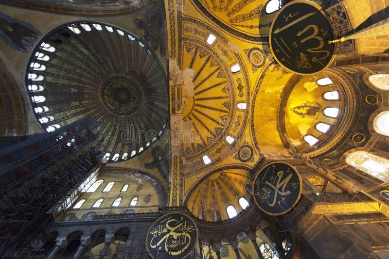 Ceiling of Hagia Sophia also called Holy Wisdom, Sancta Sophia, Sancta Sapientia or Ayasofya in Istanbul, Turkey stock photo