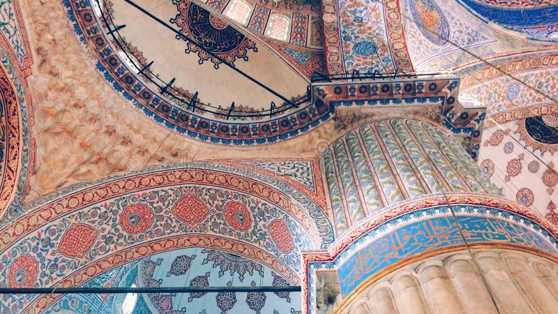 The Ceiling inside Hagia Sofia Mosque royalty free stock image