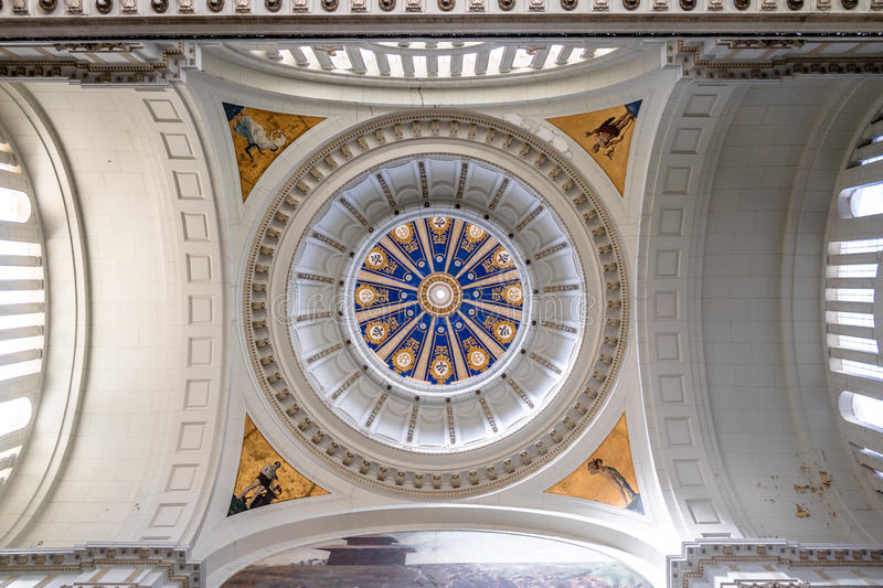Ceiling and interior dome of Revolution museum, former Presidential palace - Havana, Cuba. HAVANA, CUBA - Oct 8, 2016: Ceiling and interior dome of Revolution stock images