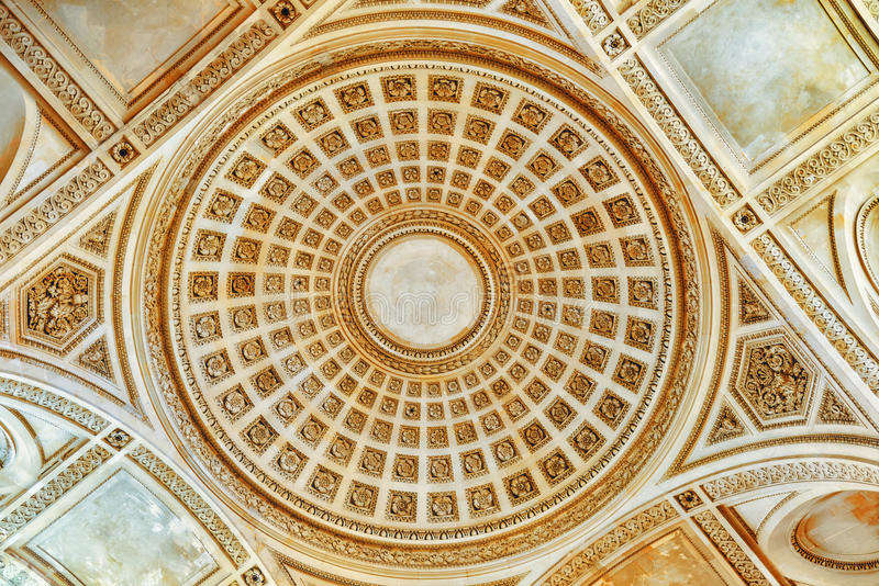 Ceiling and interior of French Mausoleum. Ceiling and interior of French Mausoleum for Great People of France - the Pantheon in Paris stock photos
