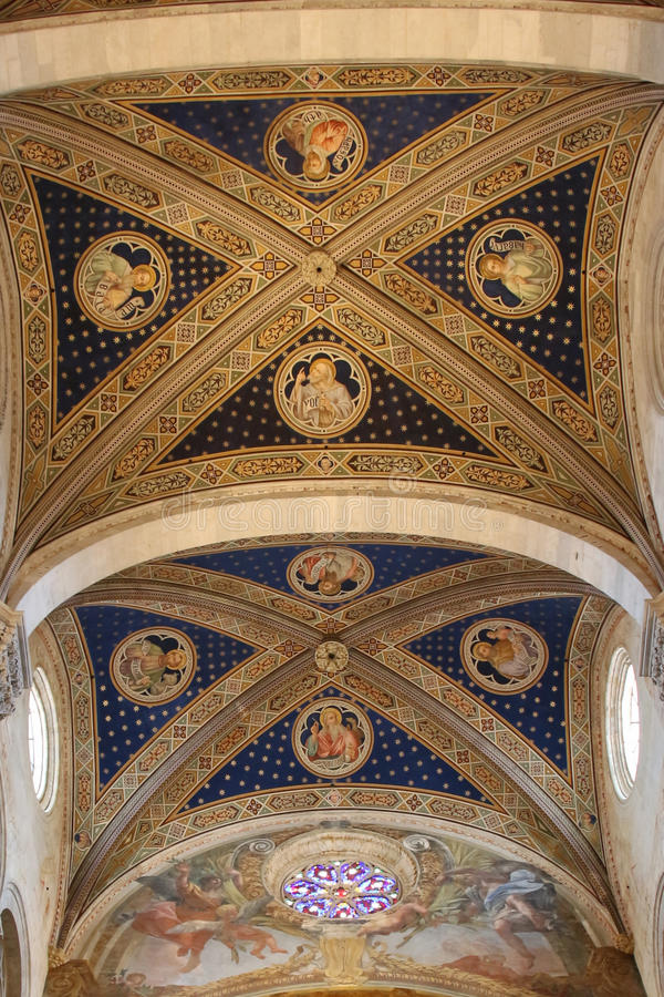 Ceiling of the interior view of Lucca Cathedral. Cattedrale di San Martino. Tuscany. Italy. stock images