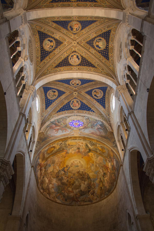 Ceiling of the interior view of Lucca Cathedral. Cattedrale di San Martino. Tuscany. Italy. royalty free stock photo