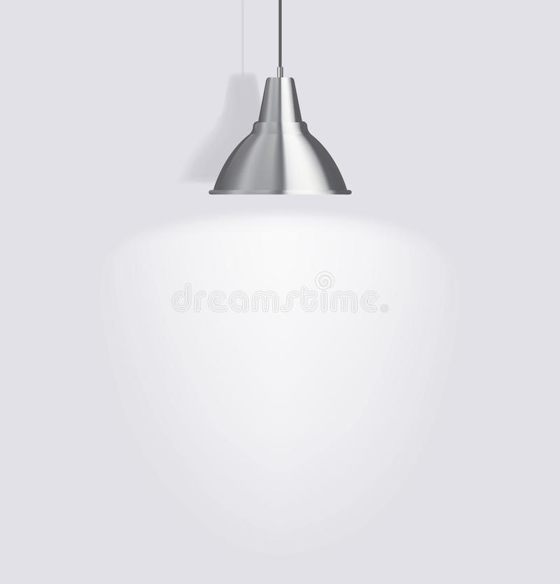 Ceiling lamp. Against a gray wall royalty free illustration